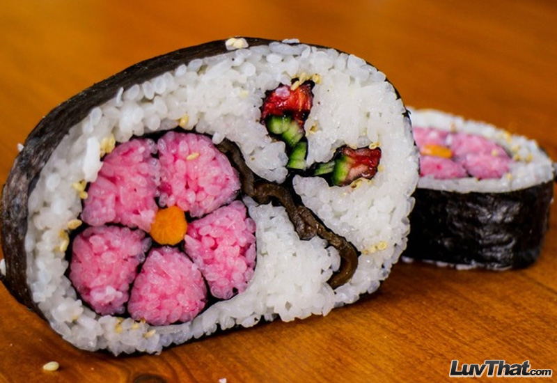 cherry blossom flower sushi art