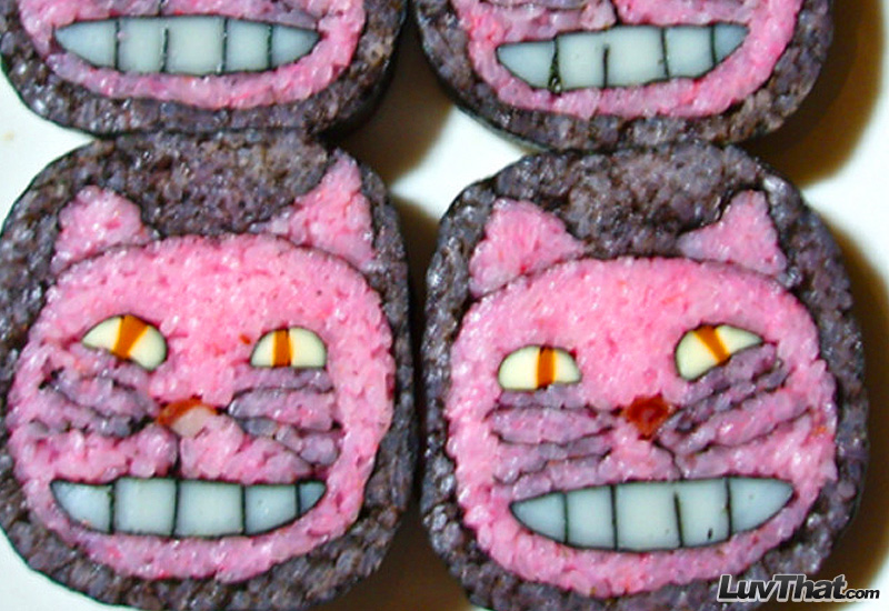 cheshire cat alice in wonderland sushi art