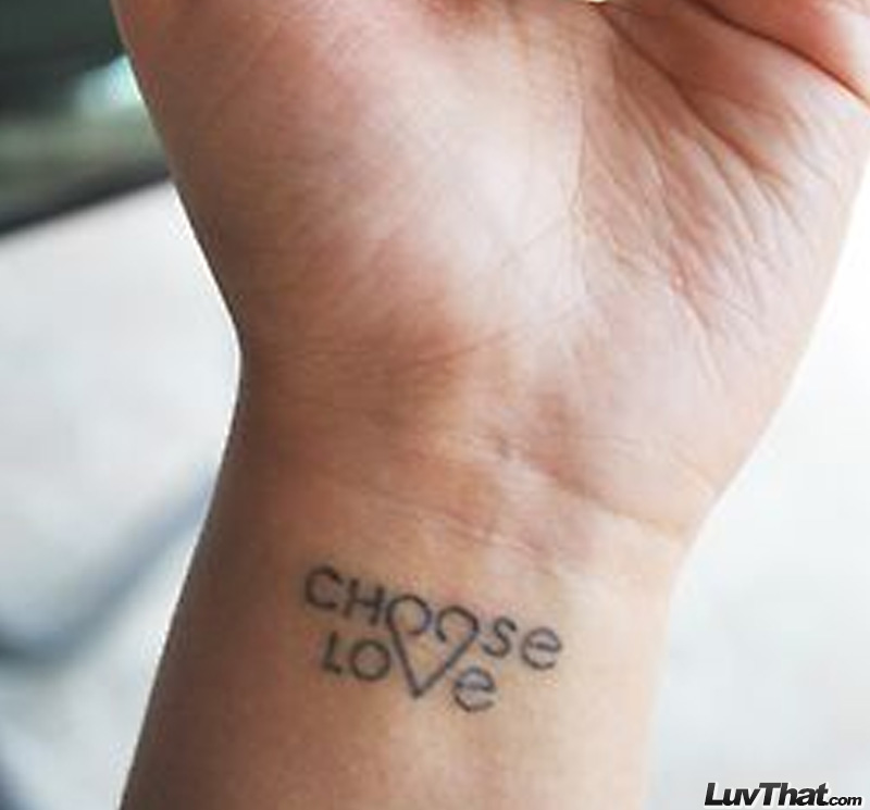 choose love and heart wrist tattoo