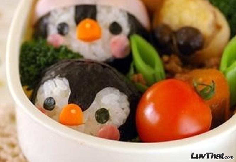 cute penguins sushi art