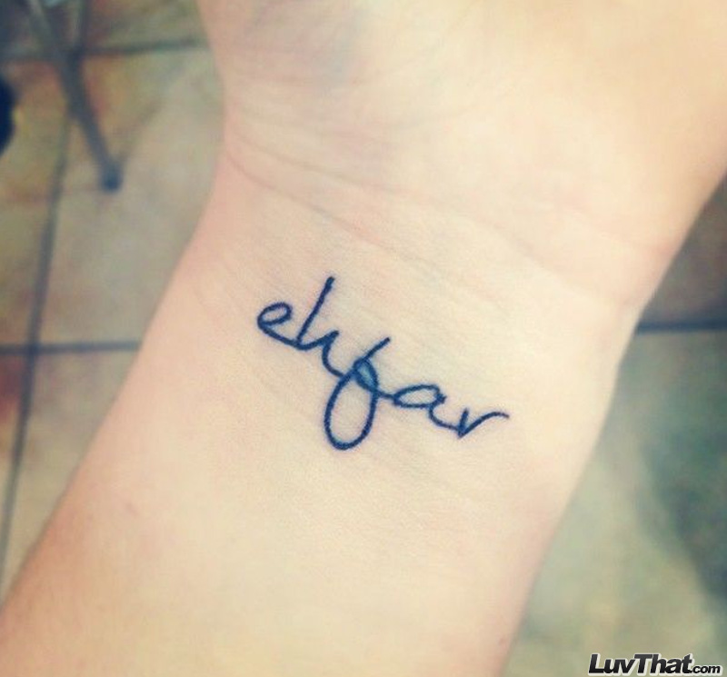 ehfar text wrist tattoo