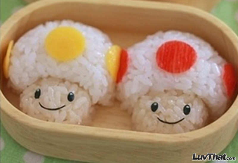 nintendo mushrooms sushi art