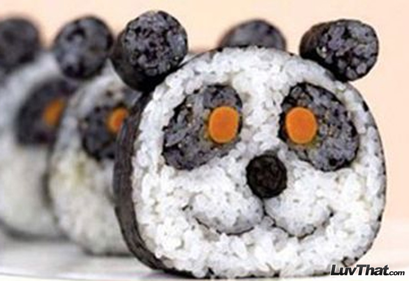 panda faces cute sushi art