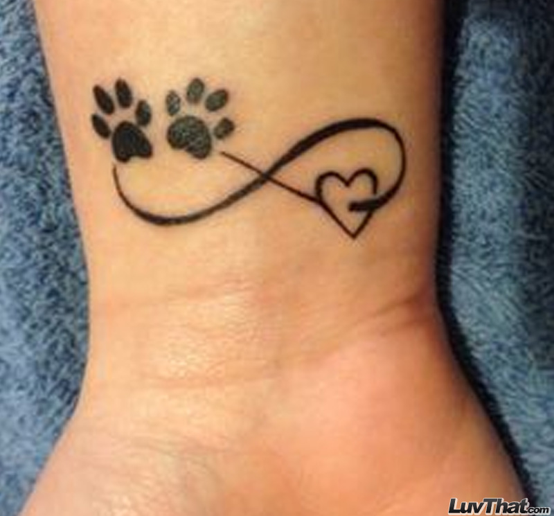paw prints and heart infinity wrist tattoo
