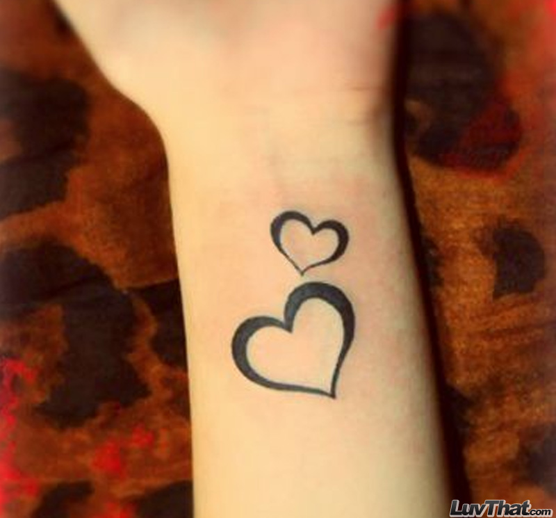 two hearts wrist tattoo