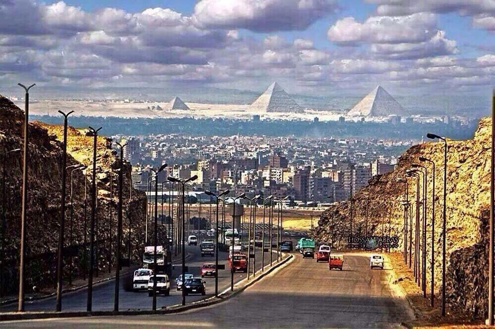 The great pyramids as seen from Cairo