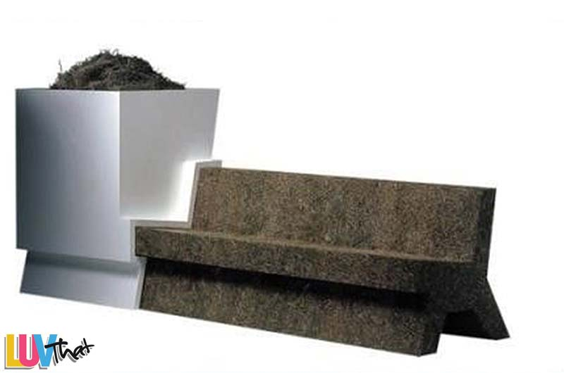 concrete bench with built in large side planter