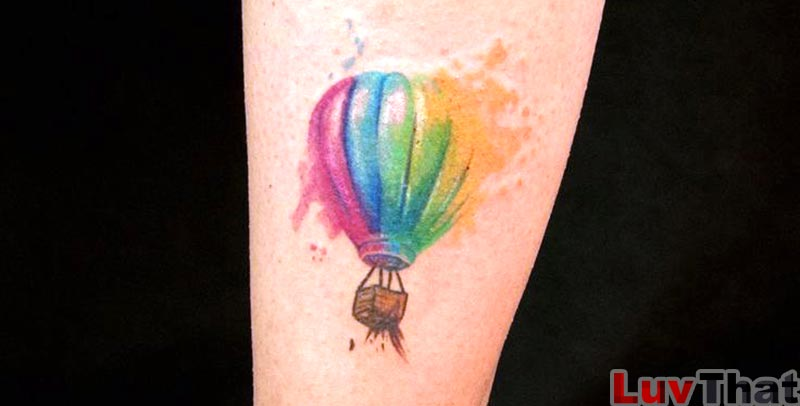 cute hot air balloon watercolor tattoo