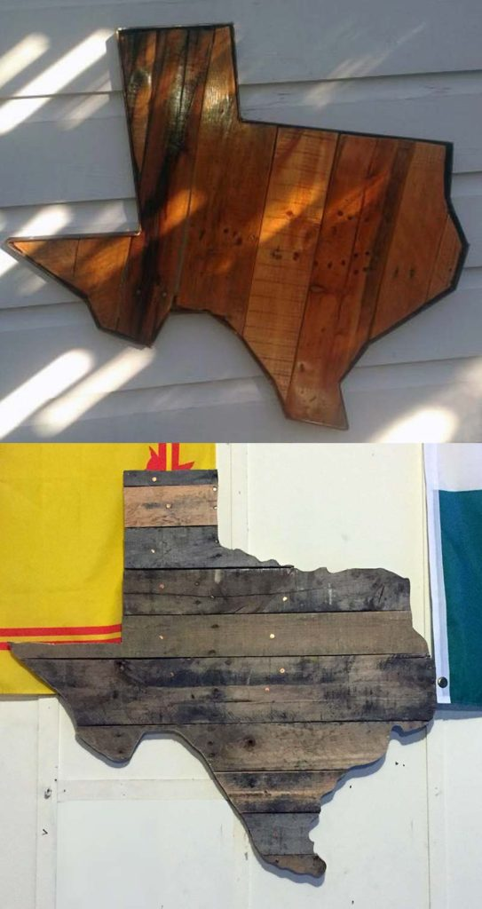 old wood pallets cut into the shape of texas