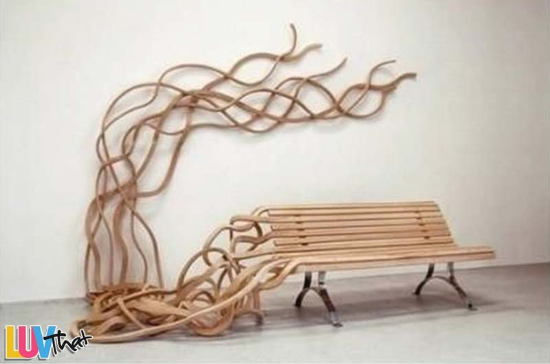 organic flowing wood shapes from bench slats