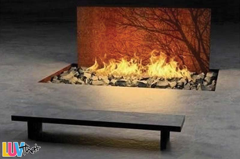 outdoor bench in front of fire feature