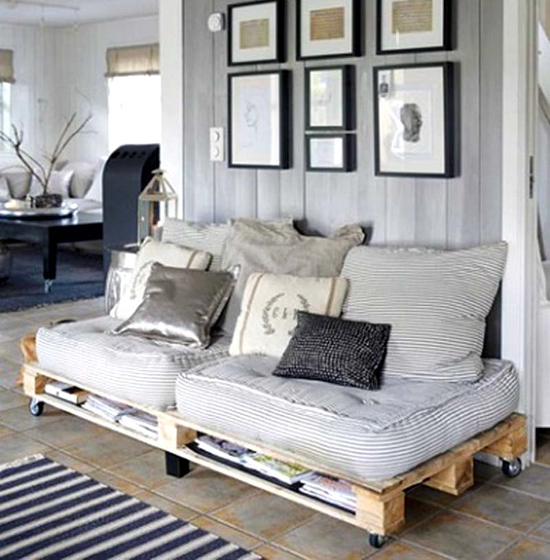 pallet wood couch and storage