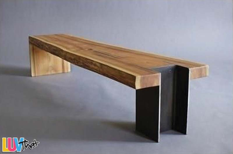 refined industrial wood slab and i-beam bench