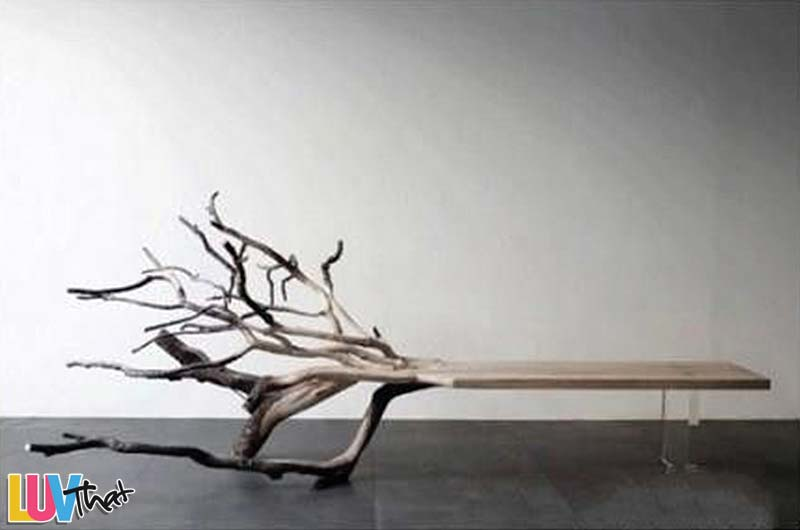 roots and branches live end bench sculpture