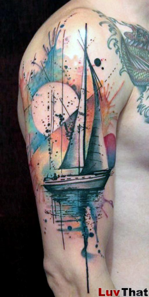 sailboat abstract watercolor tattoo