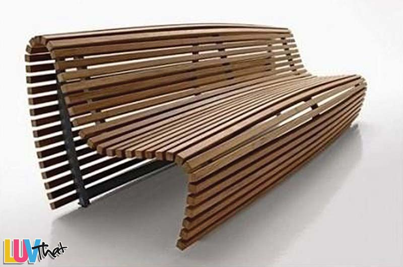 Simple Wood Slats Bench With