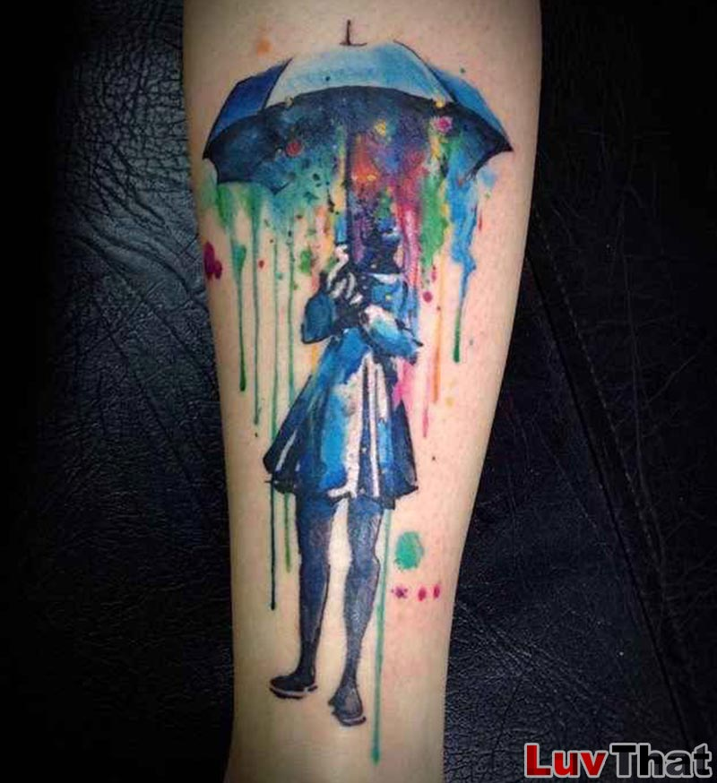 watercolor rain umbrella tattoo