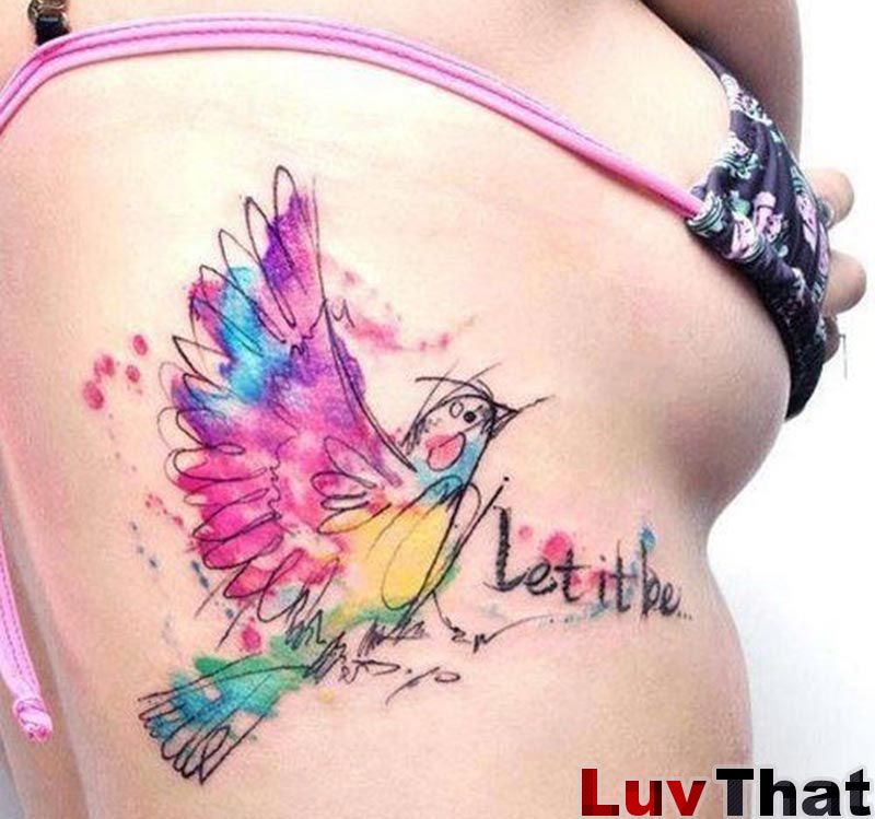 watercolor colorful bird sketch tattoo words let it be