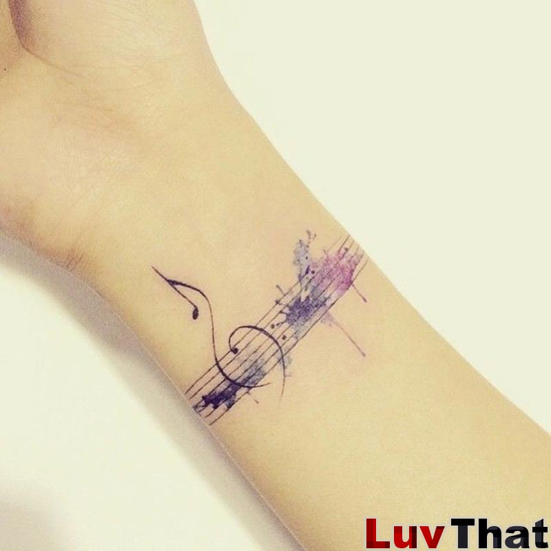 watercolor music f-clef bass clef tattoo