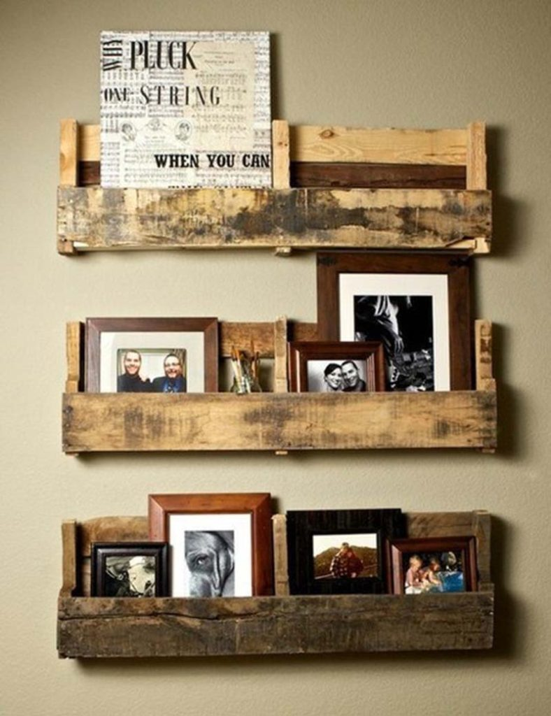 wood pallet magazine and photo wall rack