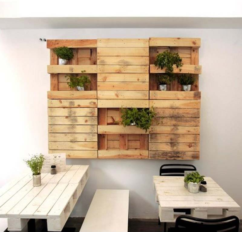 wood pallet tables and wall shelving