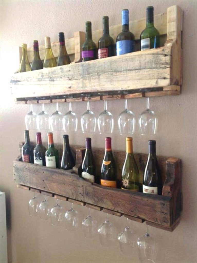 wood pallet wine rack and glass storage