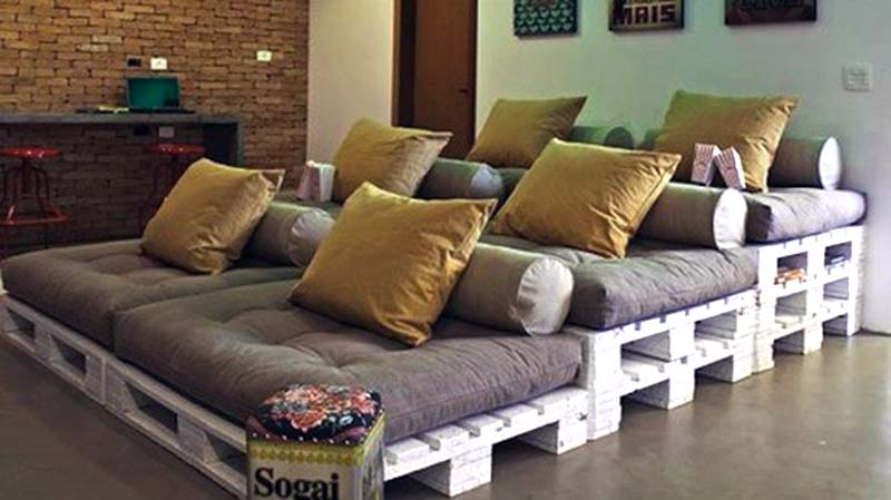 wood pallets home theater lounge seating