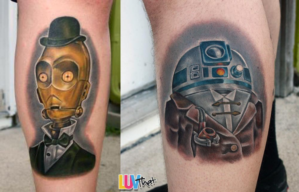 C3PO and R2D2 tattoos as sherlock and watson characters