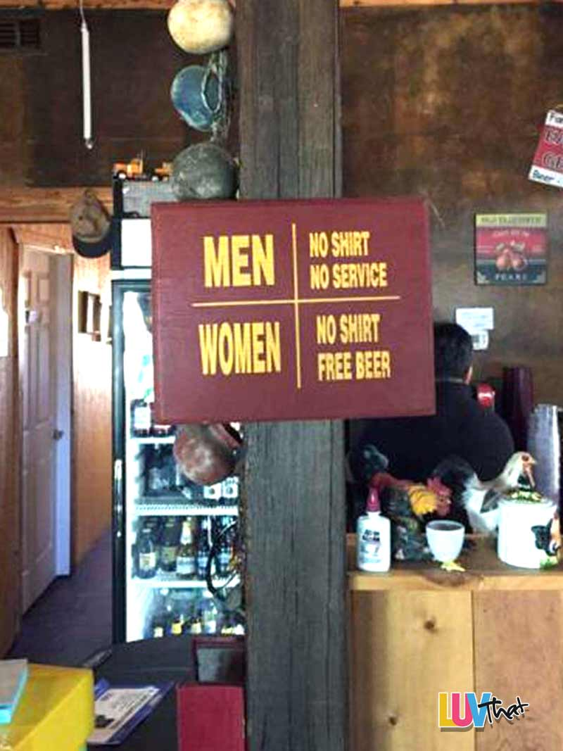 No Shirt Free Beer For Women Sign