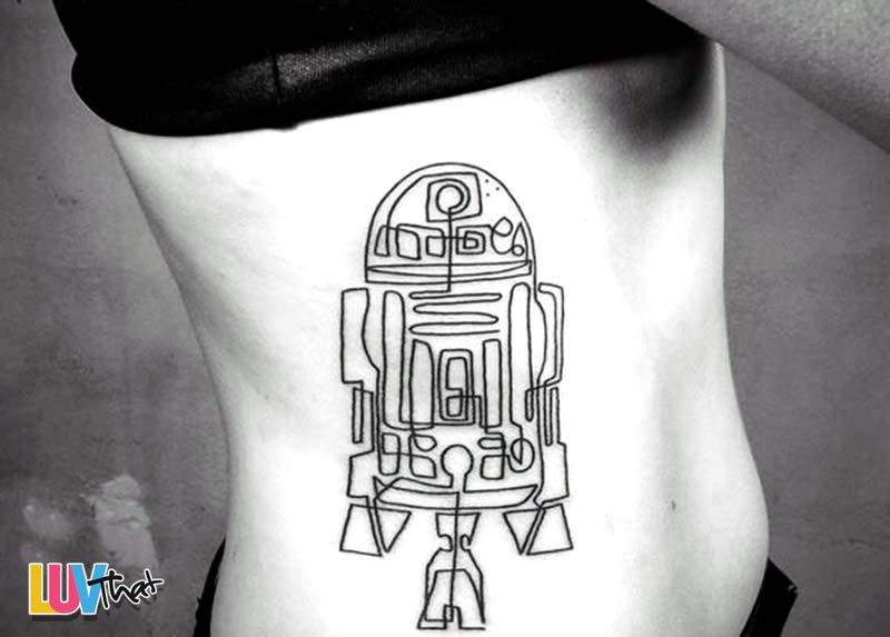 continuous line drawing R2D2 Tattoo