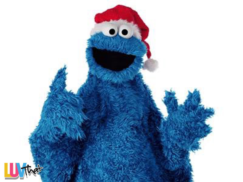 cookie monster with santa hat
