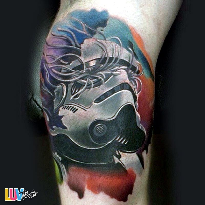 cool storm trooper helmet tattoo