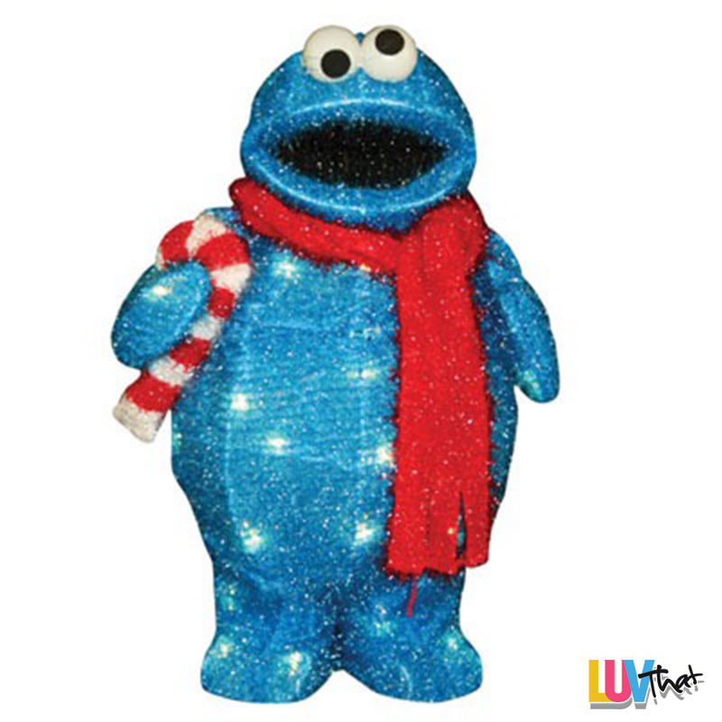 cute outdoor light up holiday cookie monster