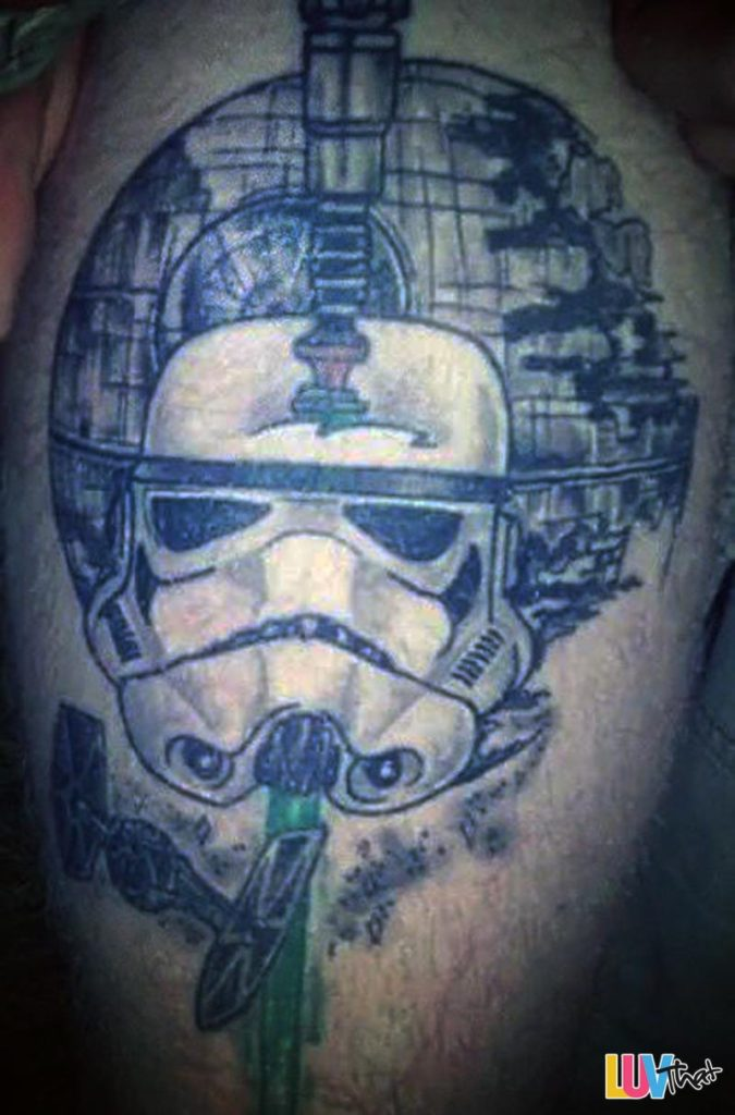 death star trooper helmet tattoo