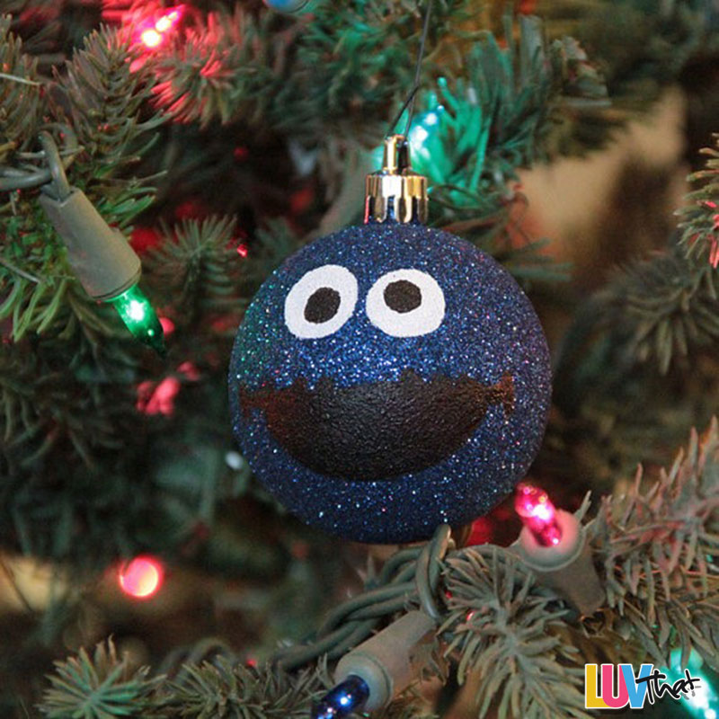 diy blur sparkles cookie monster christmas tree ornament