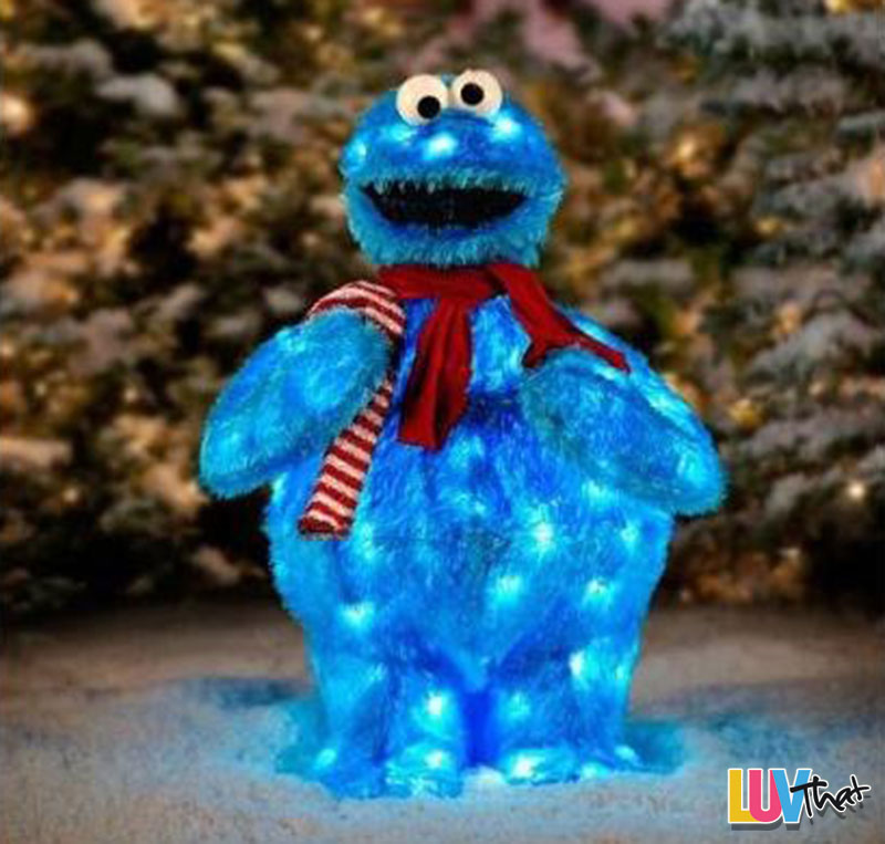 outdoor light up holiday cookie monster