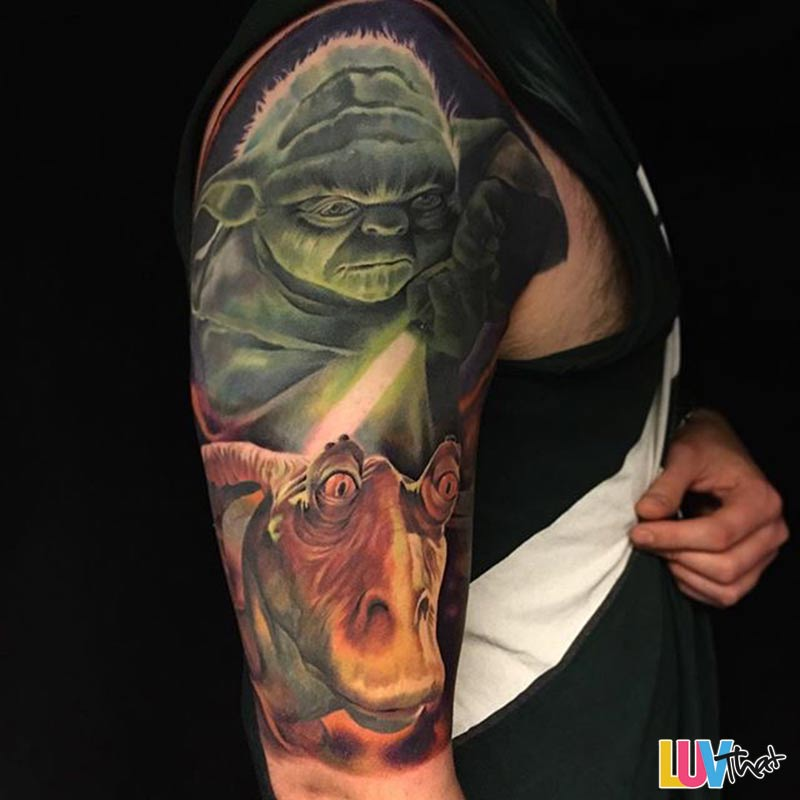 yoda and jar-jar sleve tattoo