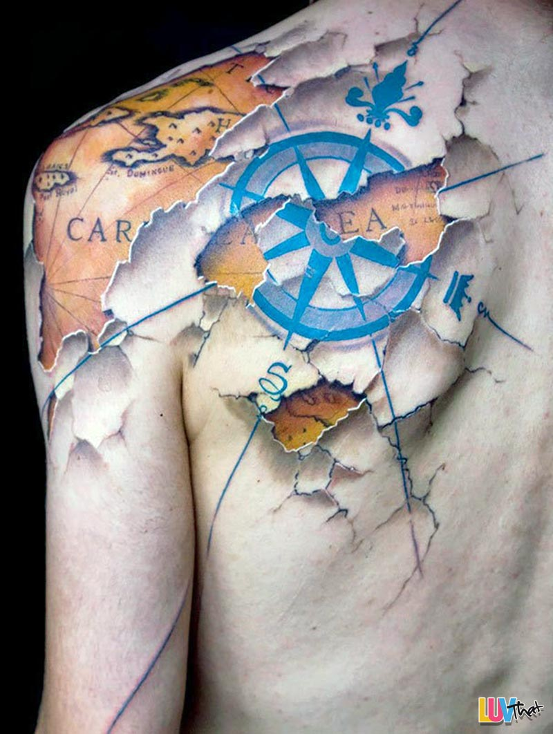caribbean sea map and compas great travel tattoo